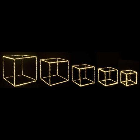 Σετ 5τχ Φωτιζόμενοι Κύβοι 1740microLED COPPER IP20 Ασημί - Θερμό Λευκό LED 25-55cm