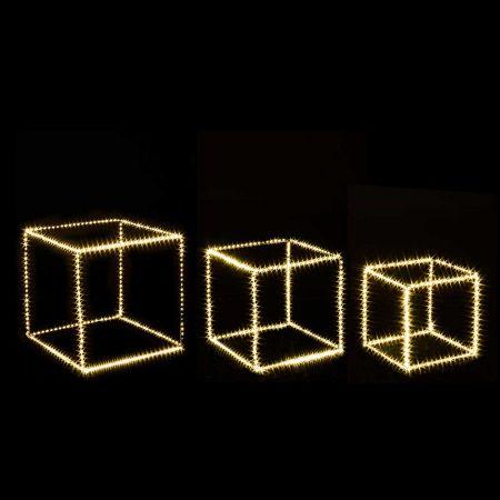 Σετ 3τχ Φωτιζόμενοι Κύβοι 820microLED COPPER IP20 Ασημί - Θερμό Λευκό LED 25-35cm