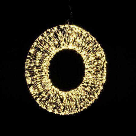 Φωτιζόμενο στεφάνι 1140microLED COPPER IP20 Ασημί - Θερμό Λευκό LED 50x7cm