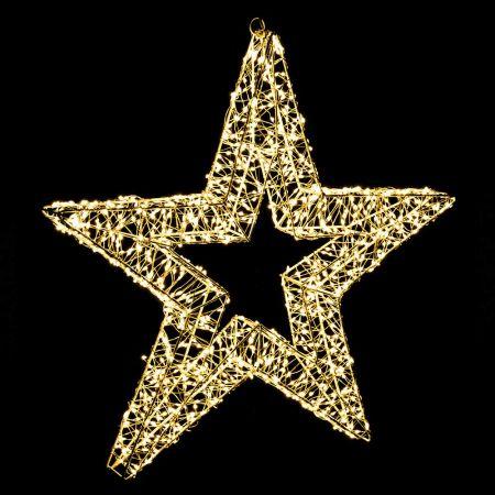 Φωτιζόμενο Αστέρι 1200microLED COPPER IP20 Ασημί - Θερμό Λευκό LED 56x5cm