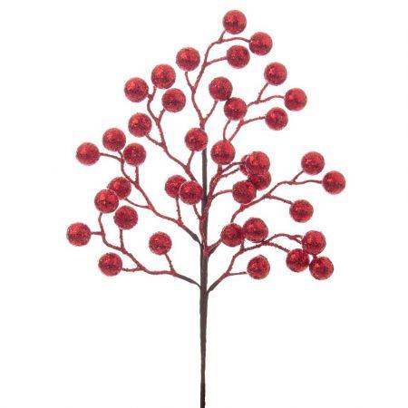 Χριστουγεννιάτικο κλαδί Berries - Γκι με glitter Κόκκινο 12x45cm