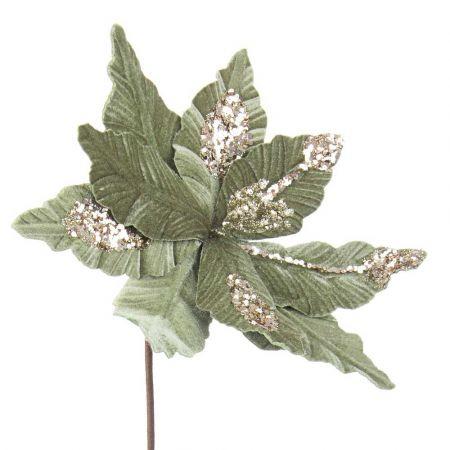 Χριστουγεννιάτικο Αλεξανδρινό άνθος βελούδινο Πράσινο 29x50cm
