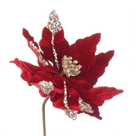 Χριστουγεννιάτικο Αλεξανδρινό άνθος βελούδινο Μπορντό 29x50cm