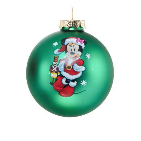 Αυθεντική Χριστουγεννιάτικη μπάλα Disney© - Minnie - γυάλινη Πράσινη