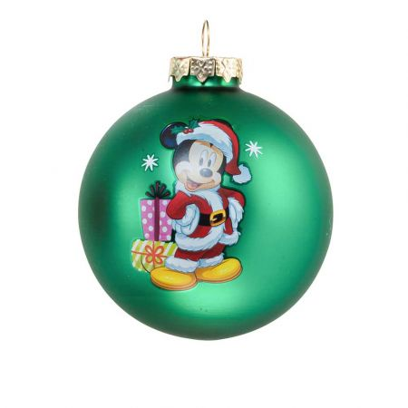 Αυθεντική Χριστουγεννιάτικη μπάλα Disney© - Mickey - γυάλινη Πράσινη 8cm