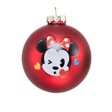 Αυθεντική Χριστουγεννιάτικη μπάλα Disney© - Minnie - γυάλινη Κόκκινη 8cm