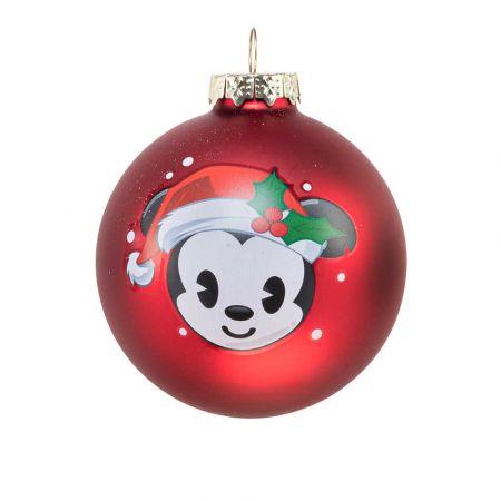 Αυθεντική Χριστουγεννιάτικη μπάλα Disney© - Mickey - γυάλινη Κόκκινη 8cm