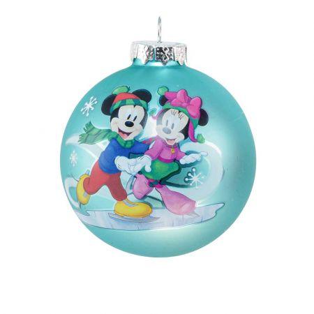 Αυθεντική Χριστουγεννιάτικη μπάλα Disney© - Mickey Minnie - γυάλινη Γαλάζια