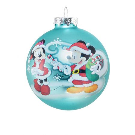 Αυθεντική Χριστουγεννιάτικη μπάλα Disney© - Mickey Minnie - γυάλινη Γαλάζια 8cm
