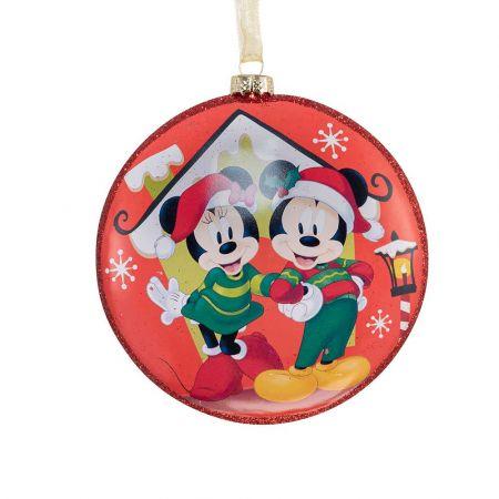 Αυθεντικό Χριστουγεννιάτικο στολίδι Disney© - Mickey Minnie - γυάλινο Κόκκινο 8cm