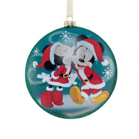 Αυθεντικό Χριστουγεννιάτικο στολίδι Disney© - Mickey Minnie - γυάλινο Μπλε 8cm