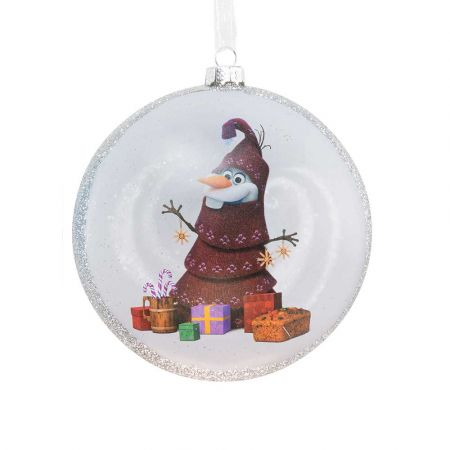 Αυθεντικό Χριστουγεννιάτικο στολίδι Disney© - Olaf Frozen - γυάλινο Λευκό 8cm