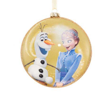Αυθεντικό Χριστουγεννιάτικο στολίδι Disney© - Anna - Olaf Frozen - γυάλινο Κίτρινο 8cm