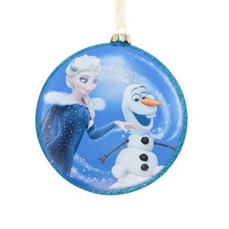Αυθεντικό Χριστουγεννιάτικο στολίδι Disney© - Elsa - Olaf Frozen - γυάλινο Μπλε 8cm
