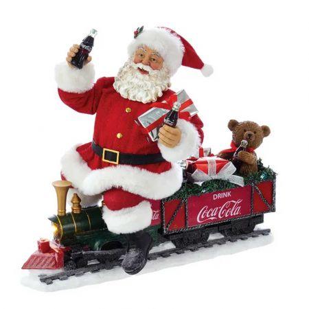 Αυθεντικός Χριστουγεννιάτικος Άγιος Βασίλης σε τρενάκι Coca-Cola® με φωτισμό LED 27cm