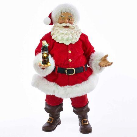 Αυθεντικός Χριστουγεννιάτικος Άγιος Βασίλης με μπουκάλι Coca-Cola® και φωτισμό LED 27cm