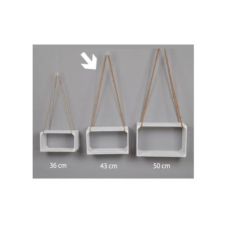 Διακοσμητικό κρεμαστό καφάσι - ράφι Λευκό 43x20x25cm