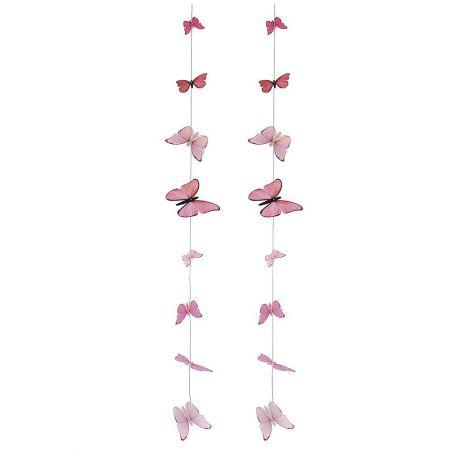 Σετ 2τχ διακοσμητικές γιρλάντες με πεταλούδες Ροζ 120cm