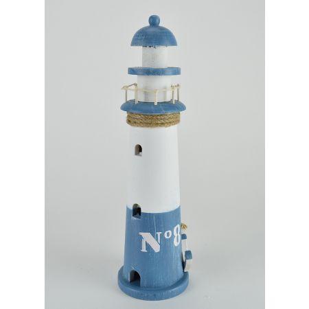 Διακοσμητικός φάρος Μπλε - Λευκό 35x10cm
