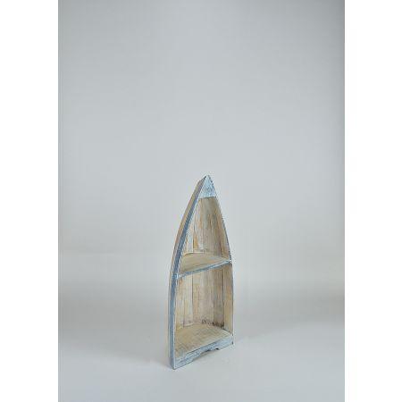 Διακοσμητική ραφιέρα βάρκα, Φυσικό - Γαλάζιο 95x34x26cm