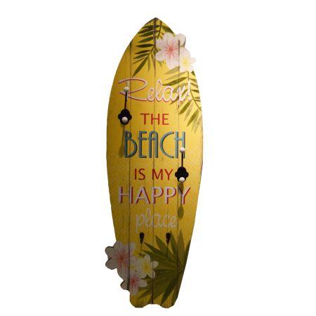 Διακοσμητική σανίδα του Surf ξύλινη με γατζάκια  Κίτρινη 90x30x7,6cm