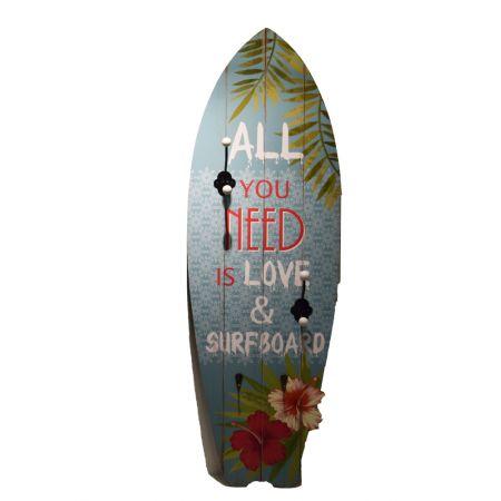 Διακοσμητική σανίδα του Surf ξύλινη με γατζάκια Μπλε 90x30x7,6cm