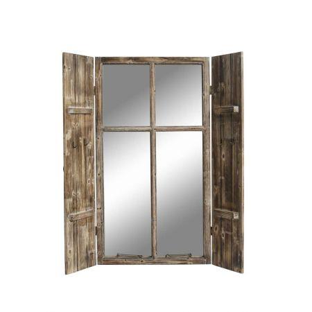 Διακοσμητικό ξύλινο παράθυρο με παντζούρια και καθρέπτη 60x110cm