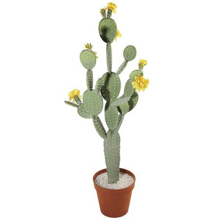 Τεχνητό φυτό Φραγκοσυκιά με άνθη σε κασπώ 111cm