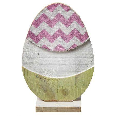 Διακοσμητικό αυγό ξύλινο Ροζ 28x12x7cm