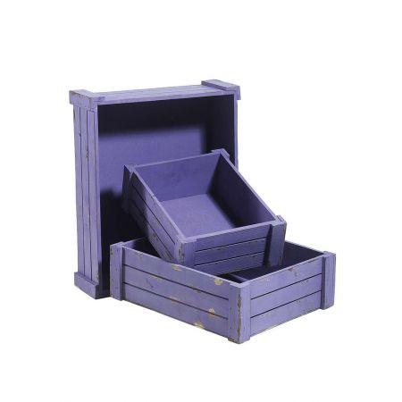 Σετ 3τχ ξύλινα κιβώτια καφάσια Λιλά 12x40x32,5cm