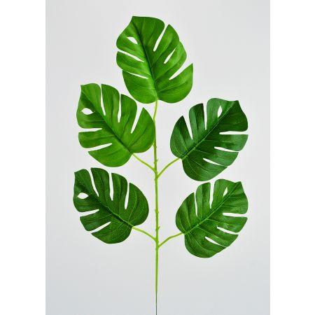 Διακοσμητικό κλαδί με 5 φύλλα Μονστέρα 55x30cm