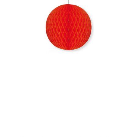 Διακοσμητική χάρτινη μπάλα κυψελωτή Κόκκινη 20cm