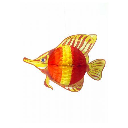 Διακοσμητικό κρεμαστό Τροπικό Ψάρι Κίτρινο-Κόκκινο 40x30cm