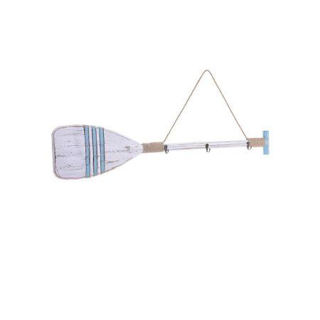 Διακοσμητικό κουπί - κρεμάστρα 3 θέσεων Λευκό - Γαλάζιο 89x3x19cm