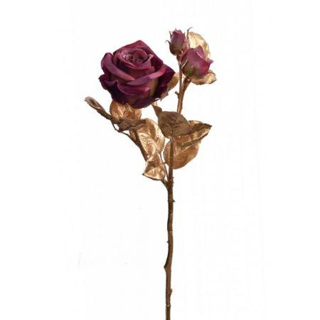 Χριστουγεννιάτικο τριαντάφυλλο Χρυσό με μωβ άνθη 24cm