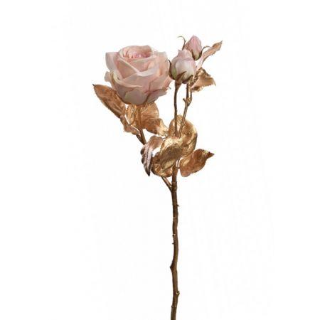 Τριαντάφυλλο Χρυσό με Ροζ άνθη 24cm
