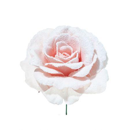 Διακοσμητικό Τριαντάφυλλο χιονισμένο Ροζ 17cm
