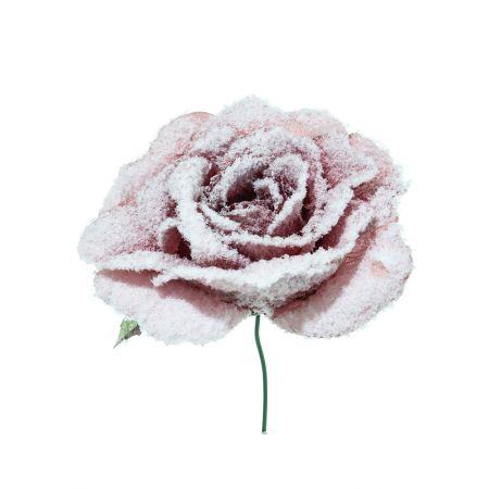 Χριστουγεννιάτικο τριαντάφυλλο χιονισμένο Σάπιο μήλο 17cm