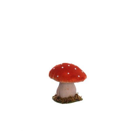 Διακοσμητικό μανιτάρι μονό Κόκκινο - Μπεζ 10,5cm