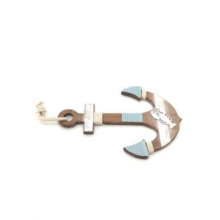 Διακοσμητική ξύλινη άγκυρα Μπλε - Λευκό 32,5x46x1,5cm