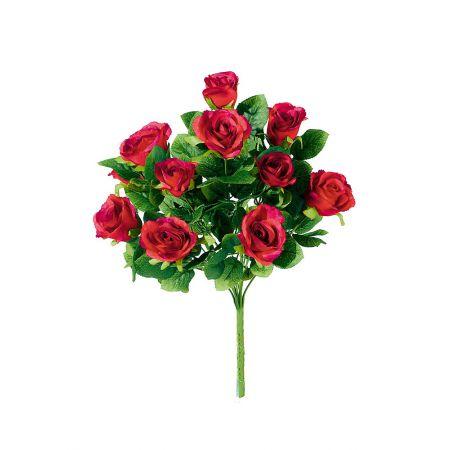 Διακοσμητική ανθοδέσμη με τριαντάφυλλα με 12 άνθη 45cm (Ύψος)