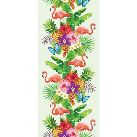 Διακοσμητική αφίσα με Τροπικά φύλλα και φλαμίνγκο 90x200cm