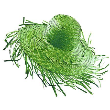 Διακοσμητικό ψάθινο καπέλο Πράσινο 40cm