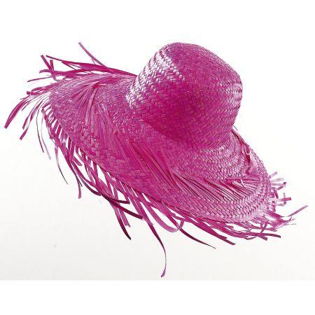 Διακοσμητικό ψάθινο καπέλο Φούξια 40cm