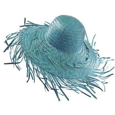 Διακοσμητικό ψάθινο καπέλο Τυρκουάζ 40cm