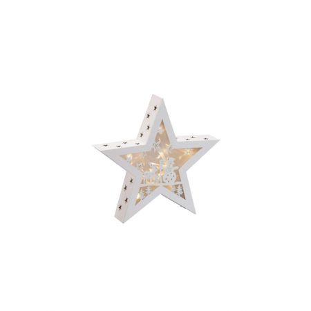 Διακοσμητικό φωτιζόμενο αστέρι ξύλινο, Λευκό 30cm