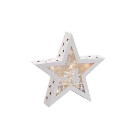 Διακοσμητικό φωτιζόμενο αστέρι ξύλινο, Λευκό 40cm