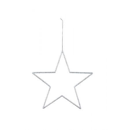 Διακοσμητικό κρεμαστό αστέρι Ασημί 32cm
