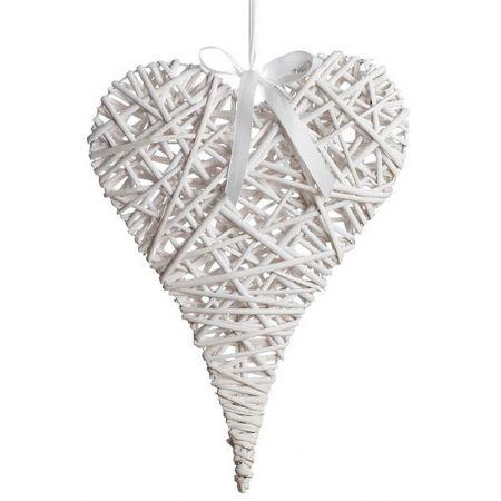 Διακοσμητική κρεμαστή καρδιά ψάθινη bamboo λευκή 35x50 cm