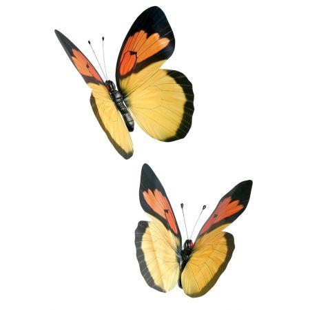 Σετ 2 τεμαχίων πεταλούδες κίτρινες, 30cm